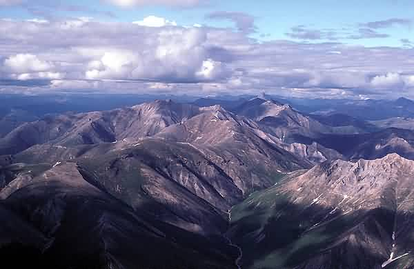 Aerial View of Mountainous Gates of the Arctic in Summer